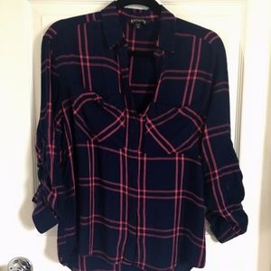 Express Navy Pink Button Down Flannel Sz XS